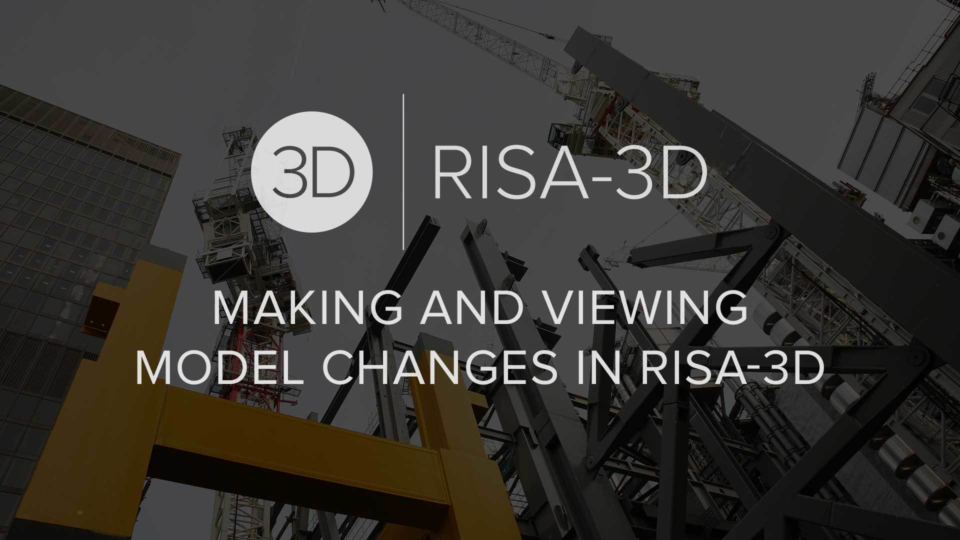 Making and Viewing Model Changes in RISA 3 D