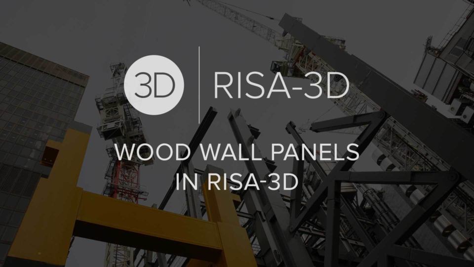 Wood Wall Panels in RISA 3 D
