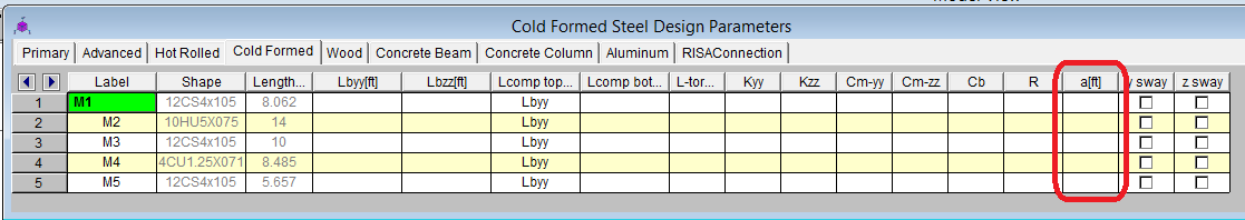 Cold Formed Steel Member Spreadsheet