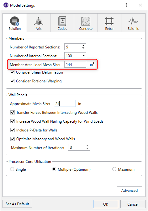 Model settings dialog